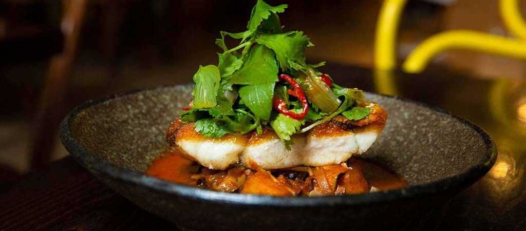 Crispy skin barramundi, Pad Cha, pickled apple eggplant, chilli, coriander - C48A2428-1024x450
